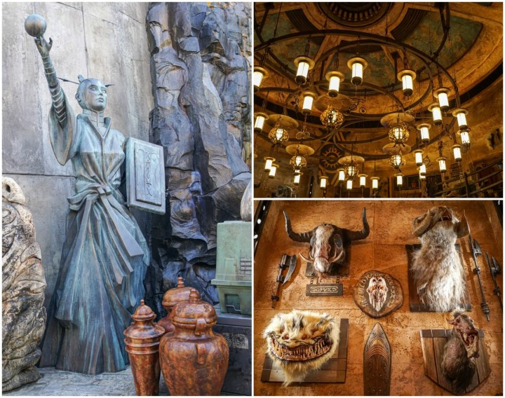 Statue of woman holding ball, Star Wars animal wall hangings, and light fixture at Galaxy's Edge