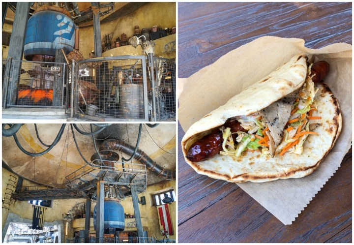 Sausage wrap and droid rotating meat at Ronto Roasters