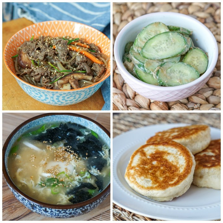 Other dishes from Korean Homestyle Cooking: Japchae (Glass Noodles with Fresh Vegetables), Cucumber Salad with Sesame Dressing, Korean Egg-Drop Soup, and Stuffed Korean Hotteok Buns.