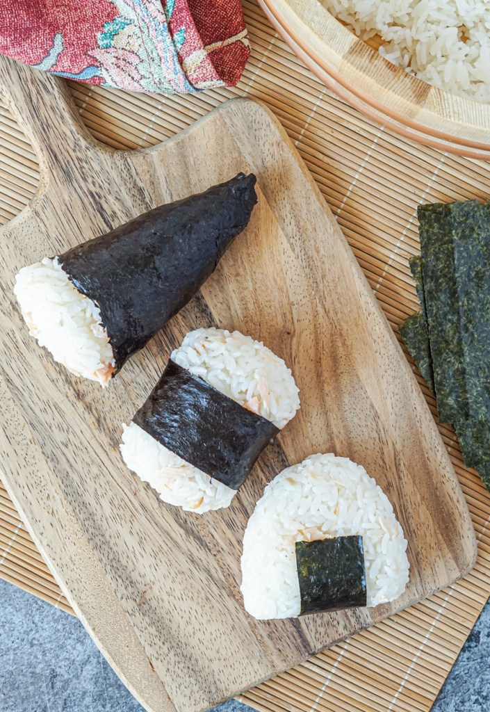 Aerial view of Sake Onigiri (Salmon Rice Balls)
