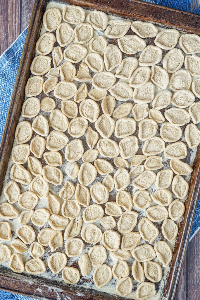 Orecchiette al Grano Arso (Toasted-Flour Orecchiette) in a single layer on a baking sheet.