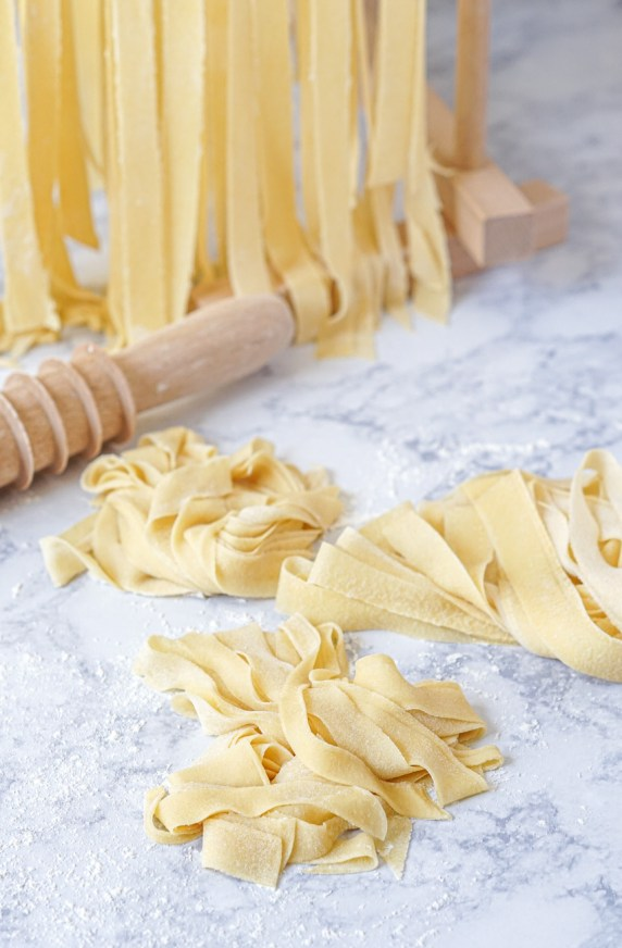 Fresh pappardelle for Pappardelle con Ragu di Funghi Misti (Pappardelle with Mixed Mushroom Ragù)