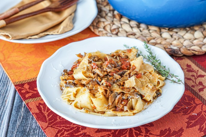 Pappardelle con Ragu di Funghi Misti (Pappardelle with Mixed Mushroom Ragù) on a plate