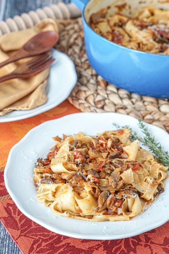 Pappardelle con Ragu di Funghi Misti (Pappardelle with Mixed Mushroom Ragù)