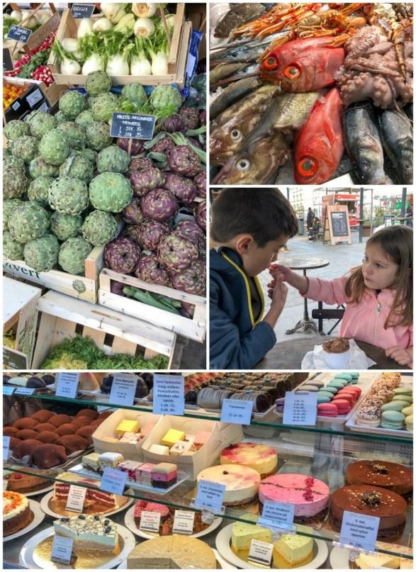 Produce, fish, and desserts inside Torvehallerne