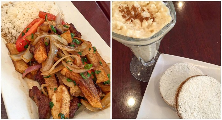 Lomo Saltado, two alfajores on a white plate, and rice pudding from Kotosh.