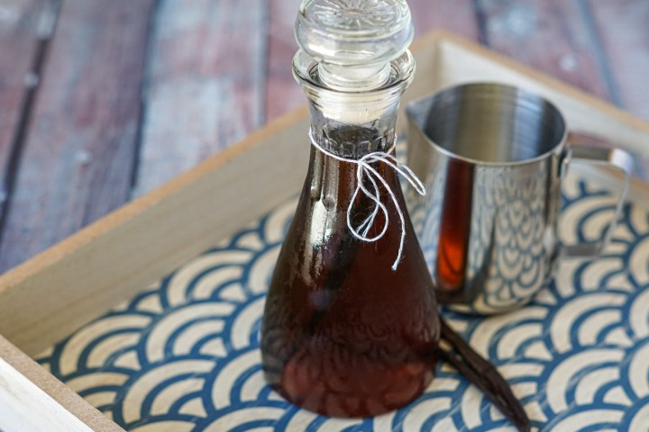 Vanilla Bean Syrup in a glass container