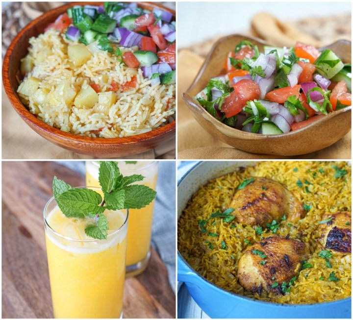 Other Dishes from Flavors of Africa- Pilau (Kenyan Spiced Rice), Kachumbari (East African Salsa), Summertime Mango Lemonade, and One-Pot North African Chicken and Rice