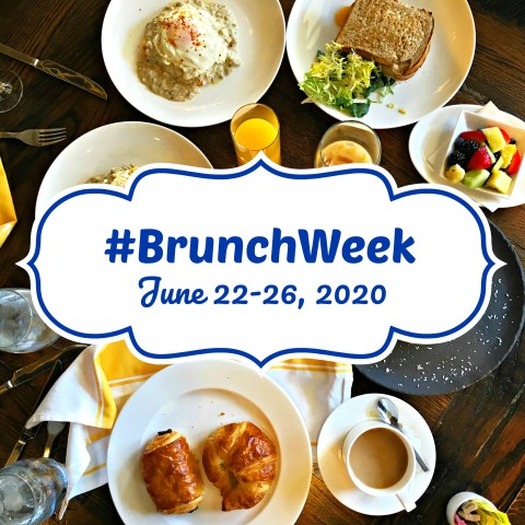 BrunchWeek logo: #BrunchWeek June 22-26, 2020 with a breakfast spread in the background with croissants, coffee, fresh fruit, coffee, and a sandwich.