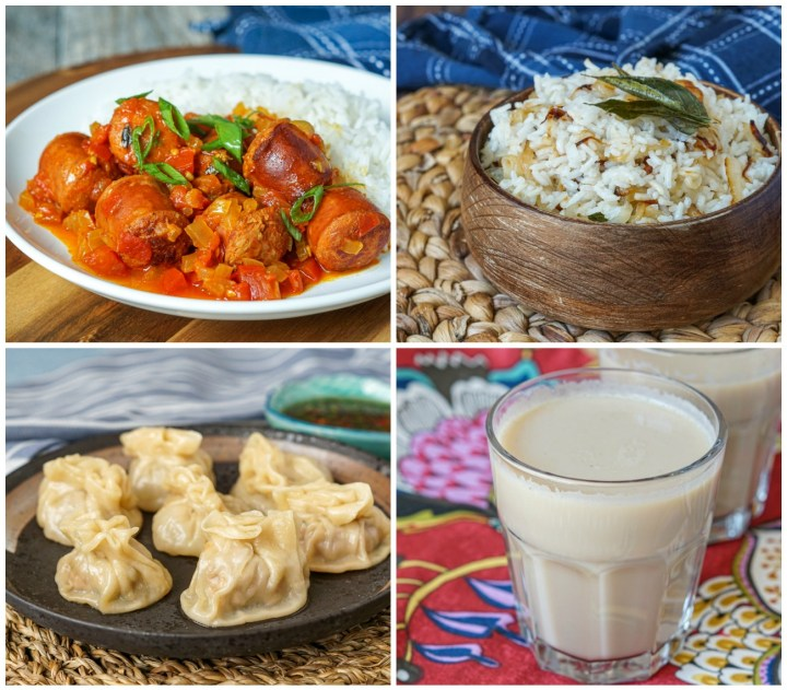 Other dishes from The Island Cookbook- Rougaille Saucisse (Sausages in Spicy Tomato Sauce), Vary Amin'ny Voanio (Malagasy Coconut Rice), Bouchons (Pork Dumplings with Soy Ginger Dip), and Cardamom Chai.