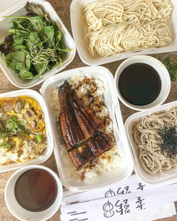 Homemade udon noodles, salad, soba noodles, chicken bowl, and eel from Ichimi An.