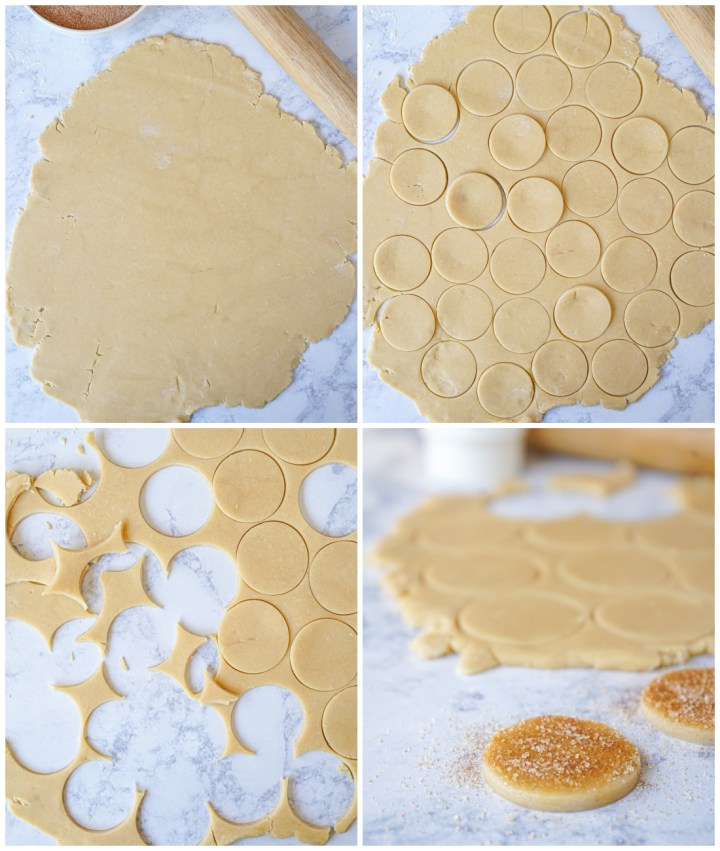 Forming the Biscotti Diamante- rolling out dough, cutting out circles, and topping with cinnamon sugar.