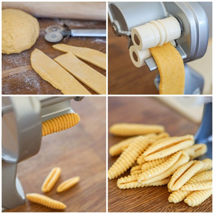 Cutting the dough into strips, rolling through the cavatelli machine, and forming into Butternut Squash Cavatelli.