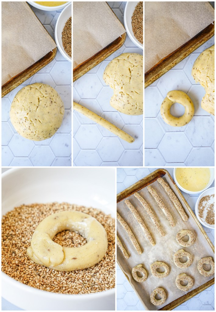 Rolling Kaak (Cookies with a Sesame-Anise Glaze) into rings and coating in sesame seeds.