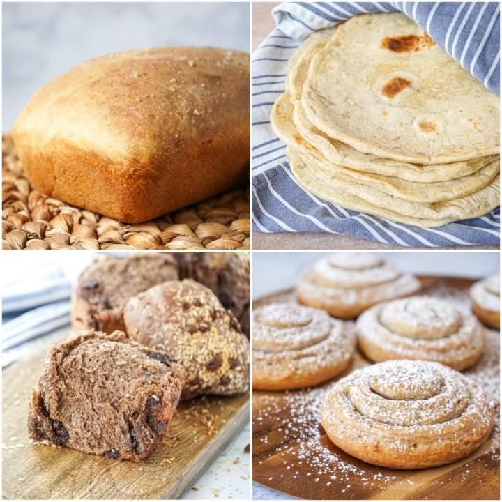 More bread of New World Sourdough: Olive Oil and Sea Salt Tin Loaf, Tortillas de Harina (Flour Tortillas), Choco Pan de Coco, and Mallorcas.