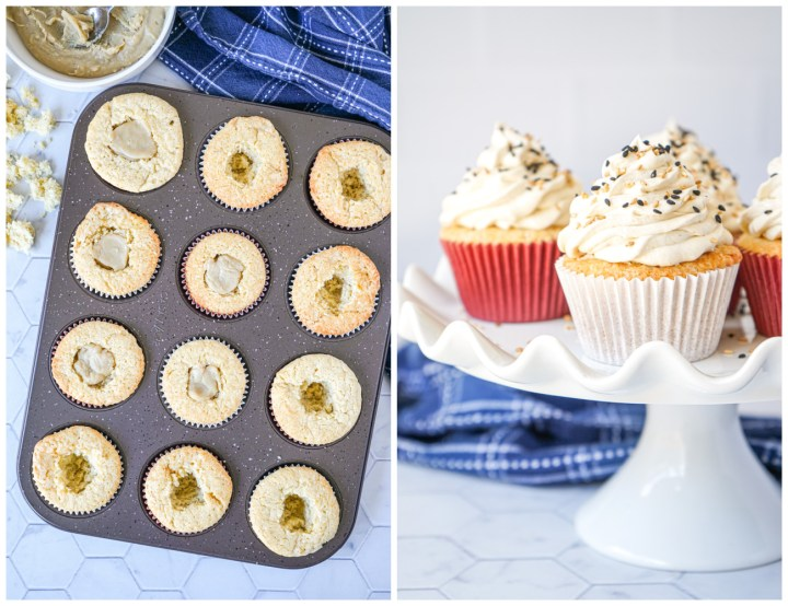 Salted Tahini Cupcakes in a muffin tin filled with fudge and on a white platter.