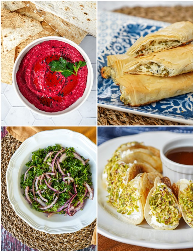 Other dishes from Sumac- Moutabal Shawandar (Beet and Tahini Dip), Sambusak (Filo Rolls with Cheese Filling), Biwaz (Simple Onion and Parsley Salad), and Asafiri (Pancakes with Ashta and Pistachio Filling).