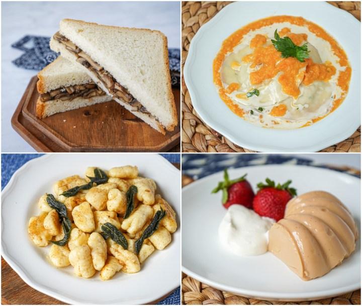 Champiñones a la Provenzal (Mom's Mushroom Sandwich), Ham and Cheese Sorrentinos (Bowler Hat Ravioli), Ñoqui de Ricota (Ricotta Gnocchi), and Dulce de Leche Gelatin.