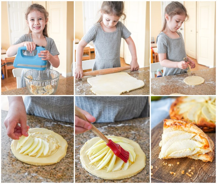 Assembling the Apple Tarts- rolling out pastry and arranging apple slices over the top.