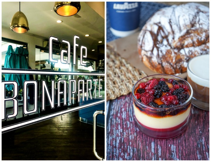 Two photo collage- Door with Cafe Bonaparte and close up of berry creme brulee and chocolate croissant.