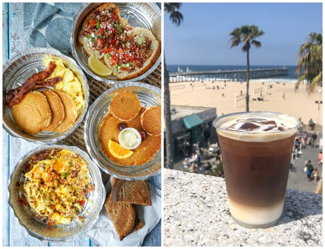 Two photo collage- silver dollar pancakes, eggs, and avocado toast from Good Stuff restaurant and coffee in front of beach.