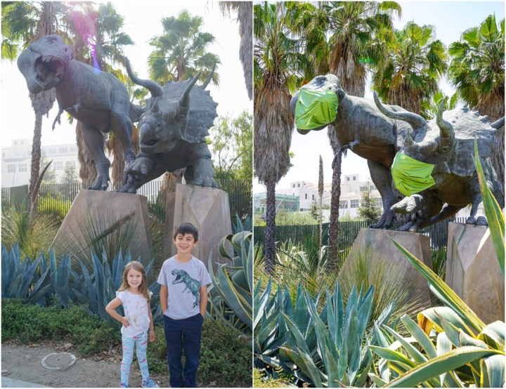 Two photo collage of outdoor statue of Tyrannosaurus rex and Triceratops with green masks on in the right photo.
