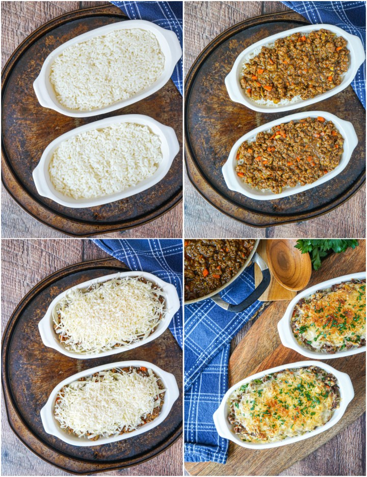 Four photo collage of arranging Curry Doria (Japanese Curry Rice Gratin) with rice, meat, cheese, and baked.