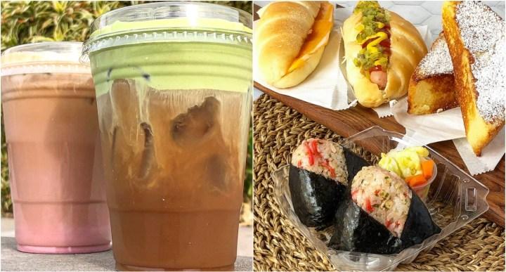 Coffee with green tea foam, onigiri, and sandwiches from Lagu Cafe.