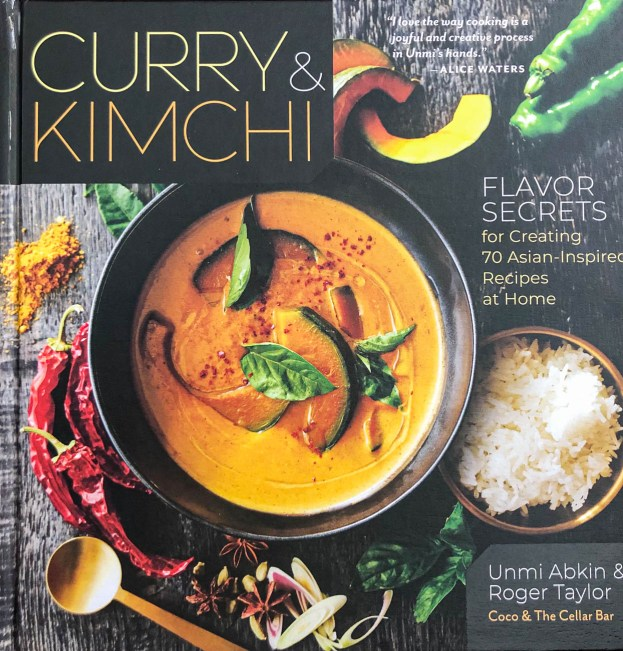 Cookbook cover- Curry and Kimchi by Unmi Abkin and Roger Taylor.