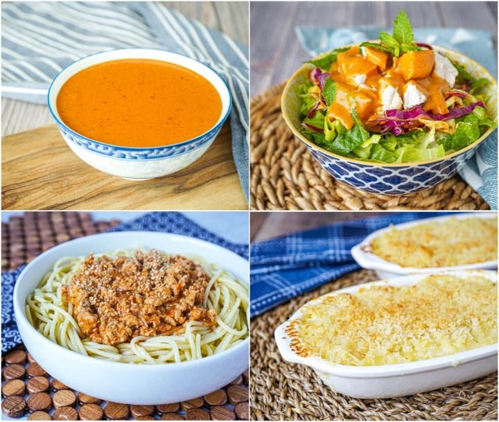Thai Peanut Sauce, Thai Chicken Rice Bowl, Korean Spaghetti, and Macaroni and Cheese.