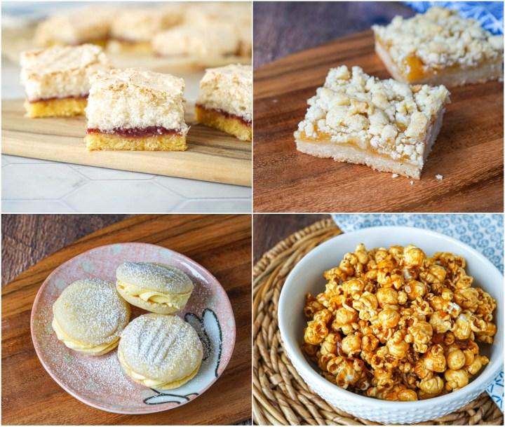 Louise Cake, Lemon Curd Shortbread, Passionfruit Melting Moments, and Caramel Popcorn.