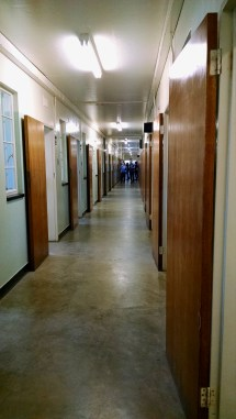 Rows of doors for solitary confinement cells