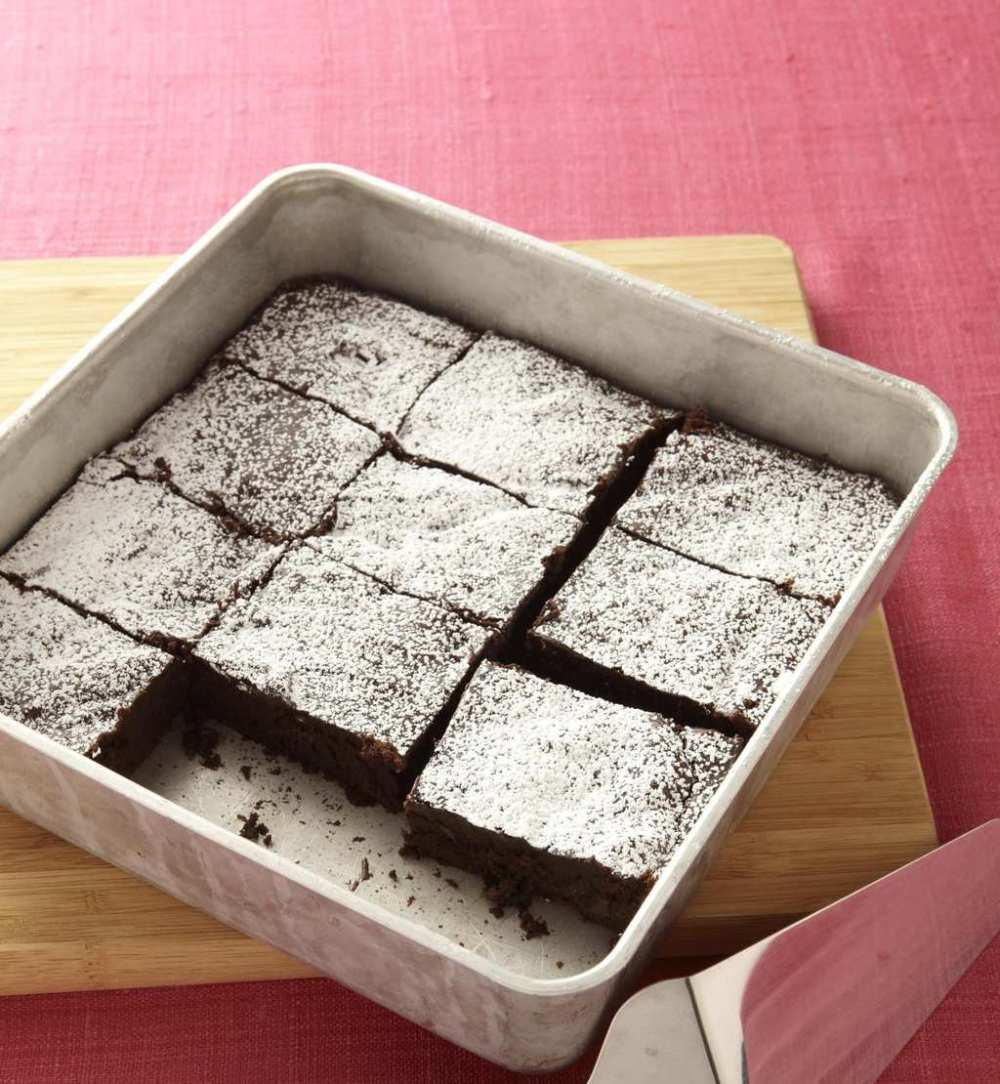 Squares of fudgy squash brownies with veggies