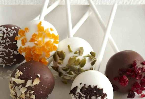 Cake pops that get their colorful toppers right from the pantry! Dried fruits, nuts and cookies make beautiful and tasty decorations for this classic treat.