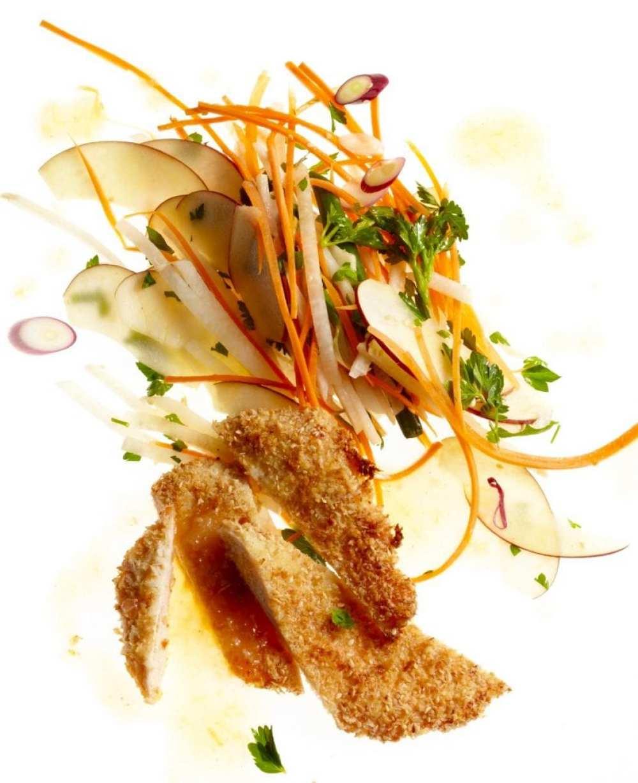Sesame Chicken with Apple Carrot Slaw