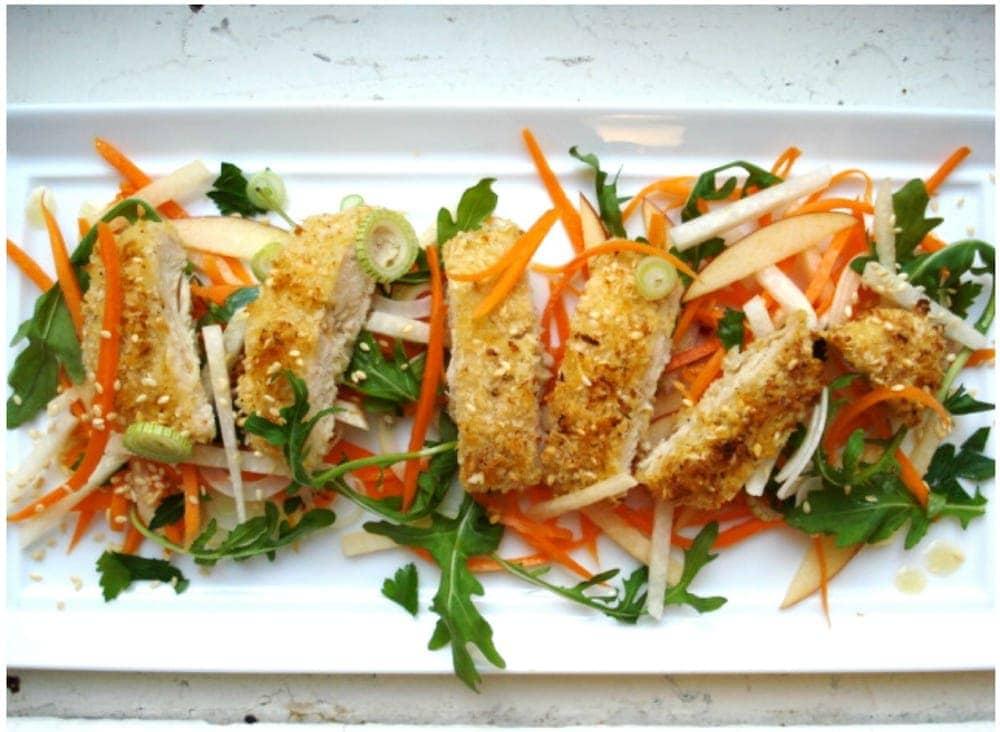 Sliced Sesame Chicken with Apple Carrot Slaw