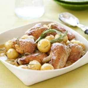 Slow cooker honey rosemary chicken gets cooked with buttery Yukon Gold potatoes.