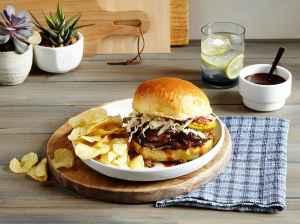 Slow Cooker Brisket Sandwich on table Tara Teaspoon