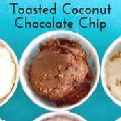 Easy homemade ice cream Toasted Coconut Chocolate Chip flavor with a chocolate base. No churn required just use a KitchenAid.