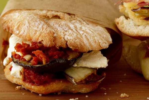 Eggplant and mozzarella panini in parchment
