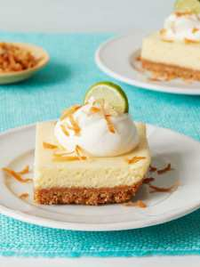 Coconut Key Lime Bars with lime garnish