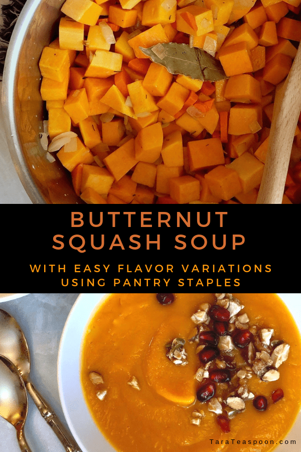 Butternut squash soup with variations pin