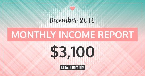 Monthly Blogging Income Report – December 2016
