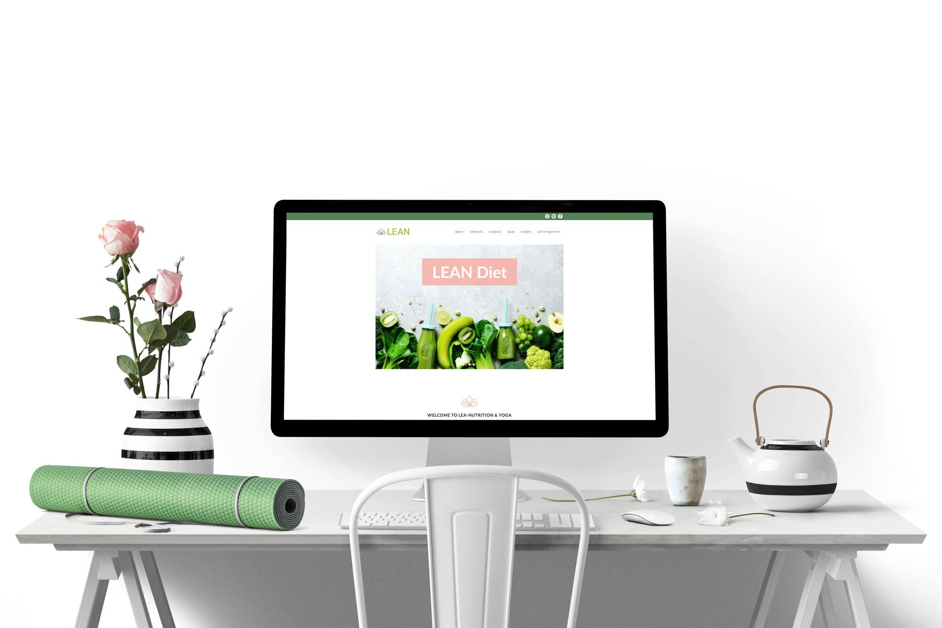 Lean Website Mockup Desk Flowers Yoga Mat