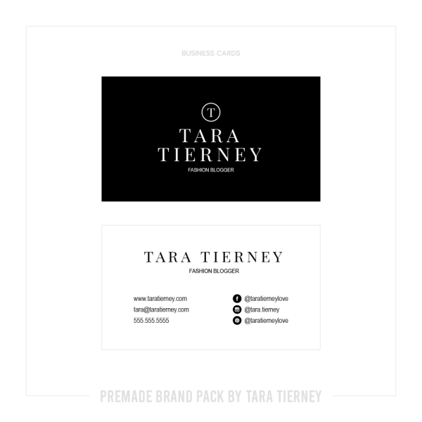 Premade Business Cards for Black + White Fashion Blogger Brand