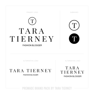 Premade Logos for Black + White Fashion Blogger Brand