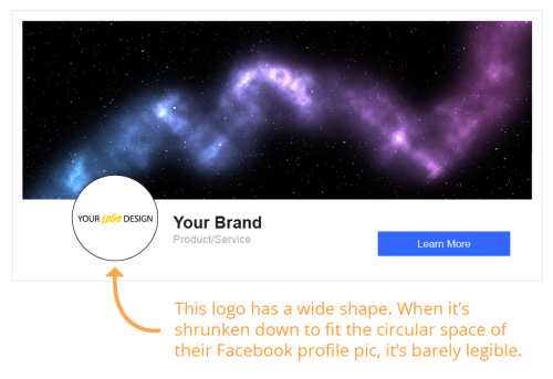 Example of a wide logo being used as a Facebook avatar
