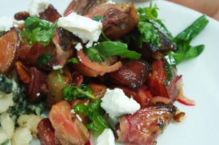Roasted Beetroot with Pickled Onions, Toasted Pecans and Goat Cheese
