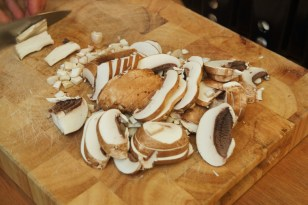 The beginning of mushroom soup