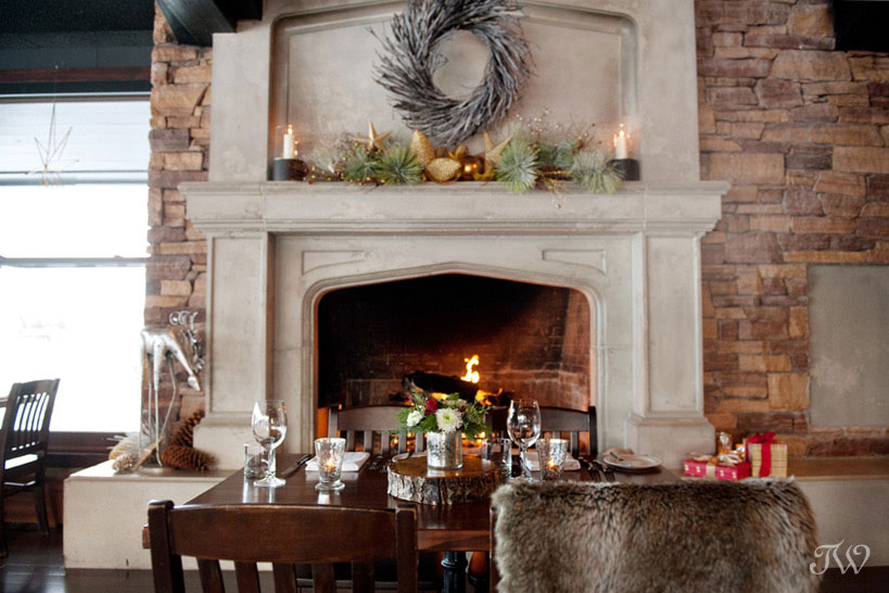Wedding ceremony locations fireplace at The Lake House captured by Tara Whittaker Photography
